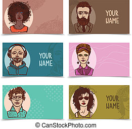Business cards with sketch faces