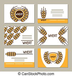 Business cards with wheat. Design for agricultural, bakery...