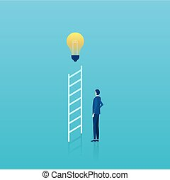 Vector of a businessman standing by ladder with bright light bulb on top.