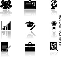 Business career icons with reflection vector illustration