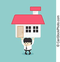 Business carry a heavy home. Business concept Vector illustration