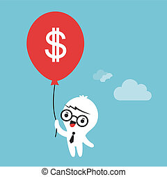 Business cartoon character flying in the sky with balloon