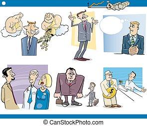 business cartoon concepts set