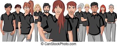 cartoon young people wearing black polo shirt