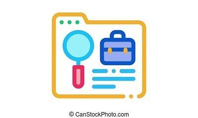 business, cas, animation, dossier, icône, recherche