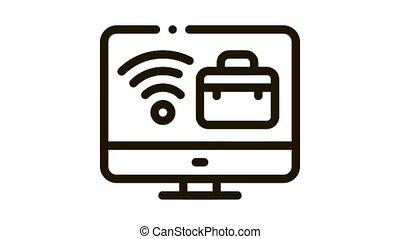 business, cas, animation, icône, écran, wifi, informatique