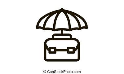 business, cas, animation, parapluie, protéger, icône