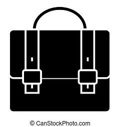 business case - portfolio icon, vector illustration, black sign on isolated background
