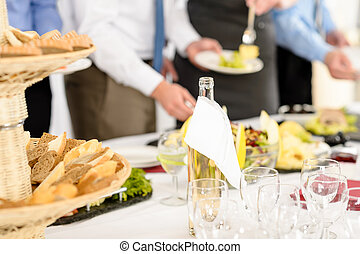 Business catering service people at meeting