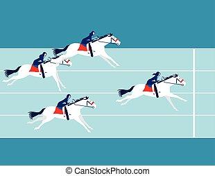 business, cavalcade, concept, horse., vecteur, race., illustration., gens