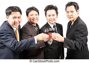 Business celebration - Businessman celebrate with wine for...