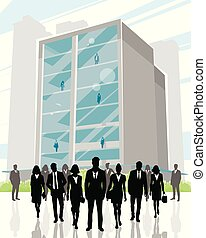 Business center and business people - Vector illustration of...