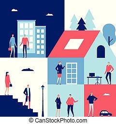 Business center - flat design style illustration. Cute...
