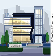 Business center flat illustration