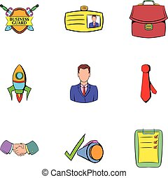 Business center icons set, cartoon style