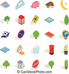 Business center icons set, isometric style