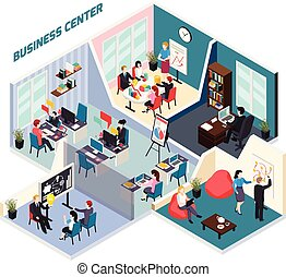 Business Center Isometric Composition - Business center...