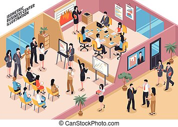 Business Center Isometric Composition - Isometric business...