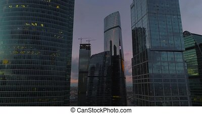 Business Center Moscow city. Aerial, dron shoot. - Shooting...