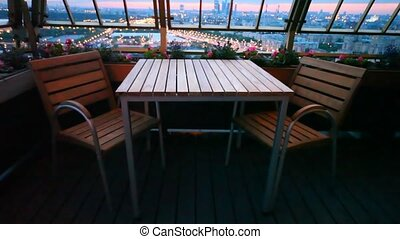 Business center Moscow City and central region of Moscow is visible from terrace of restaurant