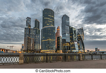 Business center Moscow-city at dusk.