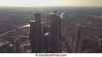 Business Center Moscow City. skyscrapers. Aerial photography of the Moscow shopping center. Glass skyscrapers shot in a bright sunny day with glare on the glass. Moscow summer