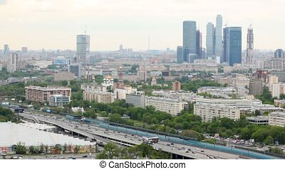 Business center Moscow of City stands against city landscape behind third transport ring