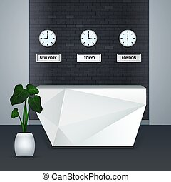 Business Center Reception Interior Realistic - Modern...
