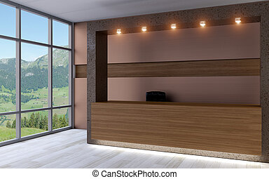 Business center. Receptionist. 3D rendering