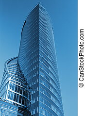 Business center toned in blue color