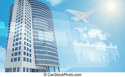 Business center with jet and world map on blue sky...