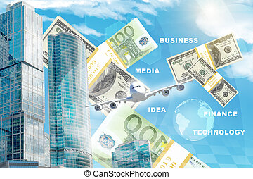 Business center with money - Business center with world map...