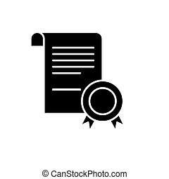 Business certificate black icon, vector sign on isolated background. Business certificate concept symbol, illustration