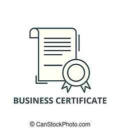 Business certificate line icon, vector. Business certificate outline sign, concept symbol, flat illustration
