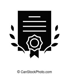 Business certification black icon, concept illustration, glyph symbol, vector flat sign.