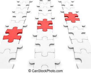 business, chaîne, problèmes, solution, theme., puzzles, illustration:, article, 3d