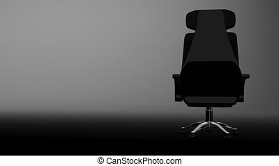 Business Chair, White Text Space. 3D render Animation. Isolated on White.