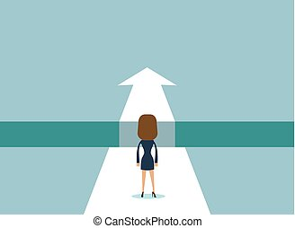 businesswoman standing on the edge of gap