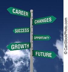 business, changements, signe, concept, illustration