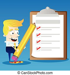 Business character holding a pencil with completed checklist on clipboard.