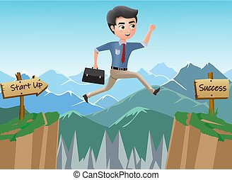 Business character journey to success vector concept. Business man character jumping risk for achievement and promotion.