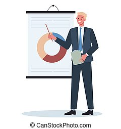 Business character making presentation in front of group of co-worker. Presenting business plan on seminar. Pointing at the graph. Flat vector illustration