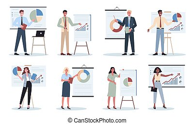 Business character making presentation in front of group of co-worker set. Presenting business plan on seminar. Pointing at the graph. Flat vector illustration