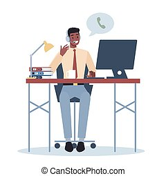 Business character with headphone. Call center office concept.