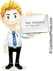 Business character with name card