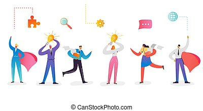 Business Characters Collection. Businesswoman with Light Bulb. Super Businessman with Red Cape. Creative Idea and Leadership Concept. Office Workers Set. Vector illustration