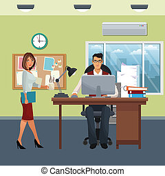 business characters in office scene