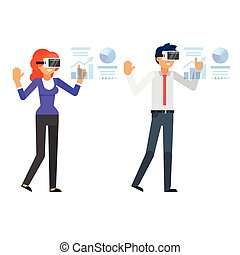 business characters wearing virtual reality glasses - Vector...