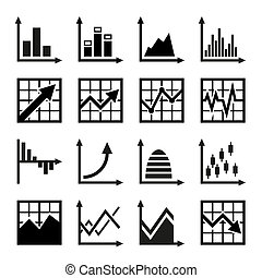 Business chart and graphics icons set