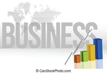 business chart and map background